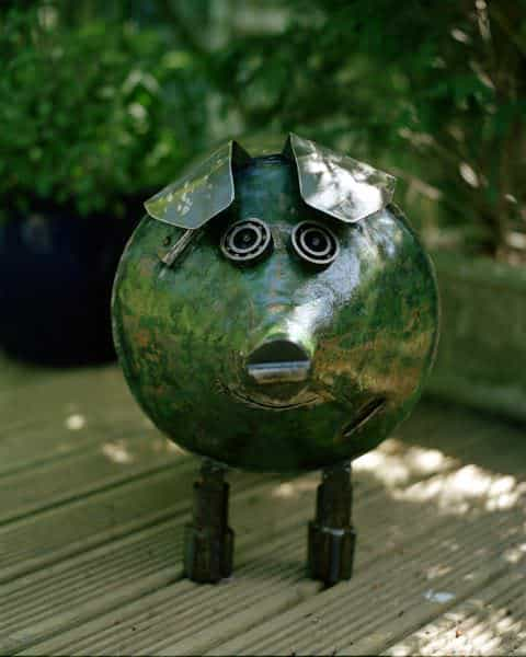 Green Pig in art  with Sculpture Recycled reclaimed mixed media Animals