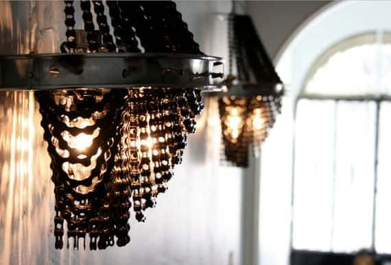 FACARO: Recycled Bicycle Chandeliers in bike friends accessories  with Light Lamp Chandelier Bike