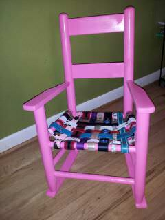 Lilys Pink Chair in furniture  with upcycled furniture Recycled Art Kid Chair Belt