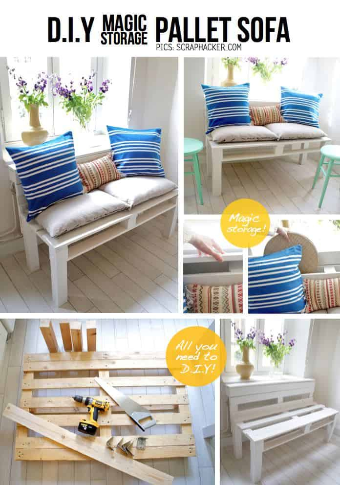 DIY : Pallet Sofa With Storage Do-It-Yourself Ideas Recycled Pallets