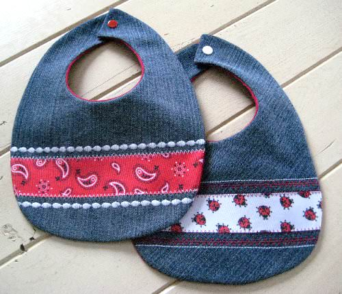 Reclaimed Blue Jeans Baby Bibs in fabric diy accessories  with Upcycled Recycled