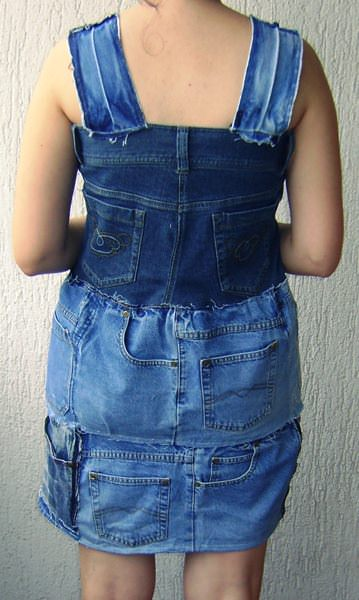 Jeans dress in fabric  with Upcycled unique Recycled jeans Dress denim Clothes blue
