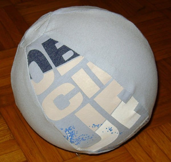 Ball made of old T Shirt in fabric diy  with Upcycled T shirt shirt play Game fun Football Ball