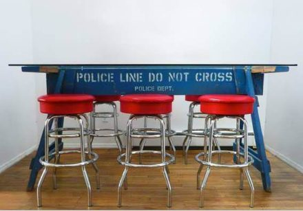 Police Line Do Not Cross Barrier Recycled Into Table