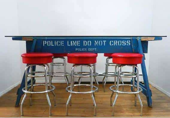 Police barrier table in wood furniture  with Table Repurposed