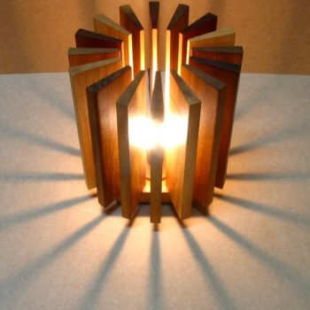 Lamp made from wooden waste