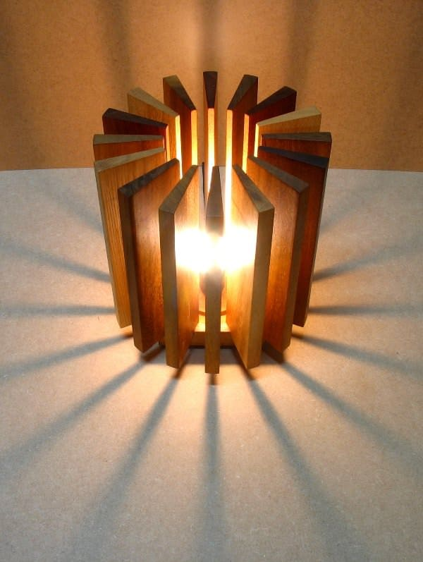 Lamp made from wooden waste in wood lights  with Wood Upcycled Recycled Lamp eco friendly design