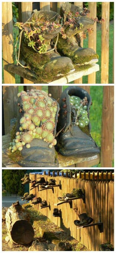 Flower pots boots fence