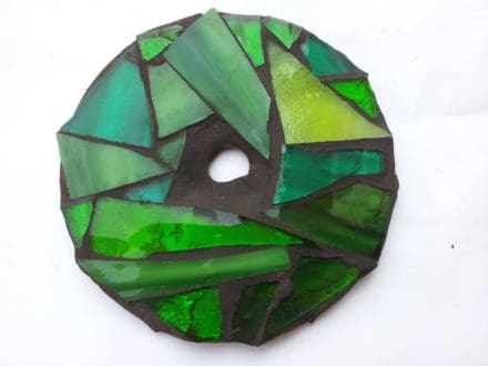 Mosaic glass with recycled CD's
