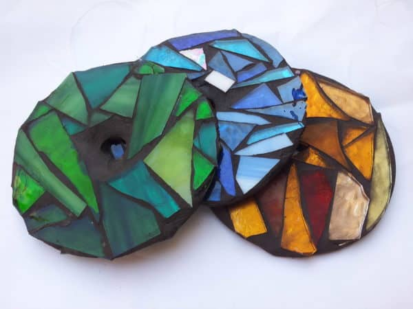 Mosaic glass with recycled CDs in glass electronics art  with Glass CD