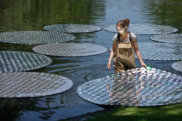 Upcycled CDs : Water Lilies in art electronics  with WC Recycled Art CD