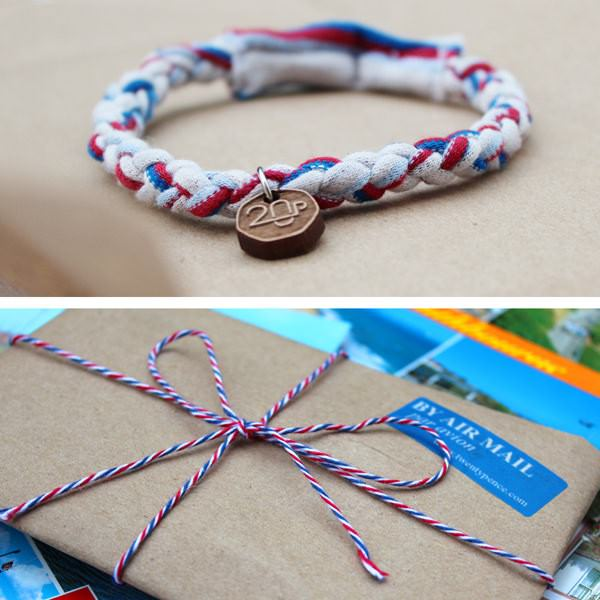 Upcycled Airmail Bracelet in jewelry fabric accessories  with white Upcycled red Recycled braided Bracelet blue