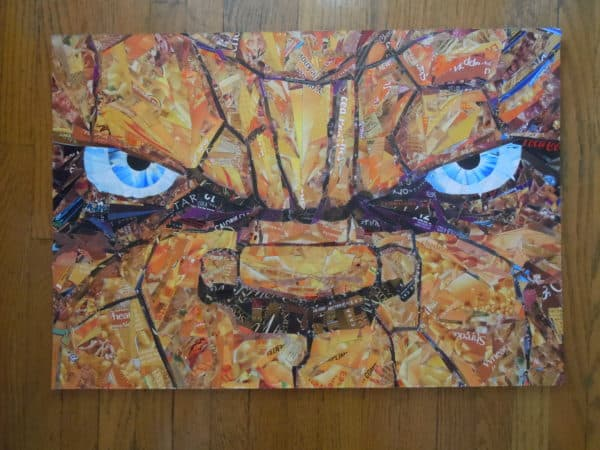 Recycled Superheroes in packagings art  with Upcycled Recycled mosaic collage Art