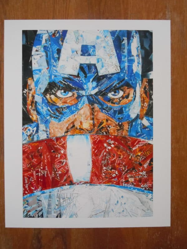 Recycled Superheroes in art packagings  with Upcycled Recycled Art Recycled mosaic collage