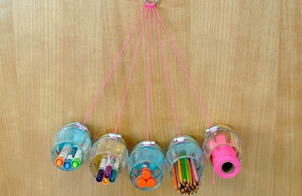 DIY Hanging Craft Organizer  in diy  with Upcycled Reused Recycled Plastic DIY design Art