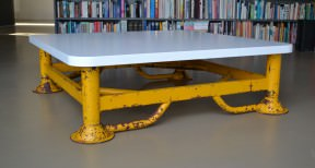 Coffee table made from an old iron trestle