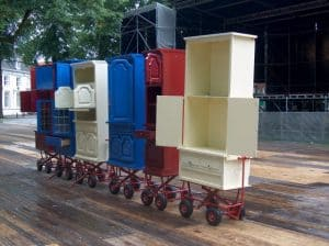 Mobile merchandising stands from upcycled cabinets