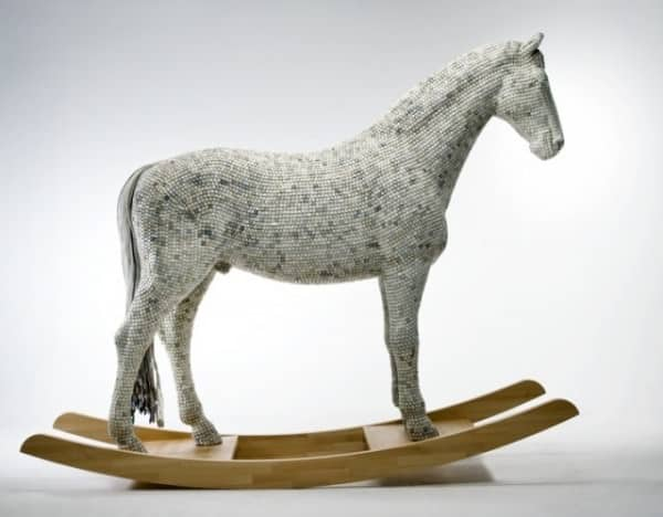 Recycled keyboard animal in electronics art  with Sculpture keyboard horse Animals