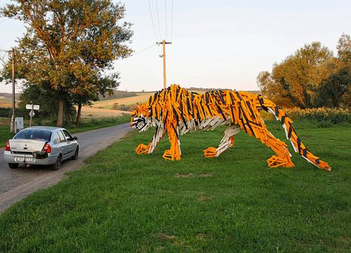 Tiger from  HelloWood in wood art  with Wood Sculpture Recycled Art Animals