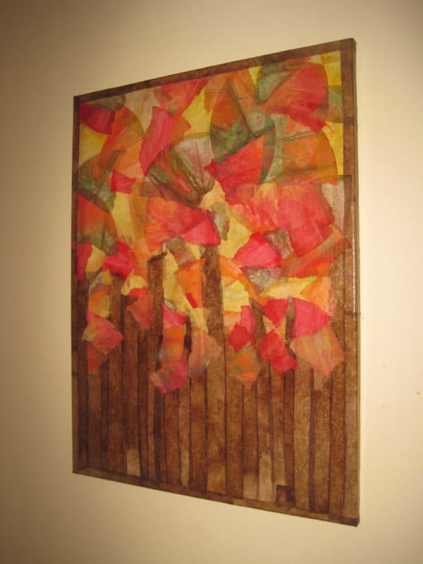 Fall Foliage and Lighting with Recycled Coffee Filters in paper lights  with Light Lamp Coffee