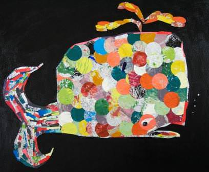 Moby Dick Foil Art in art  with Upcycled collage Art 