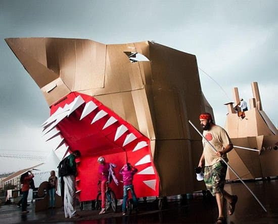 big shark The Day of Tyran's Giant Creatures in social cardboard art  with Social Sculpture Kid festival Cardboard Art