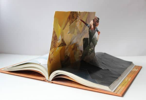 book 600x411 The Yellow Wallpaper in paper art  with collage Book Art