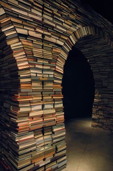 Book arch in social paper  with Books