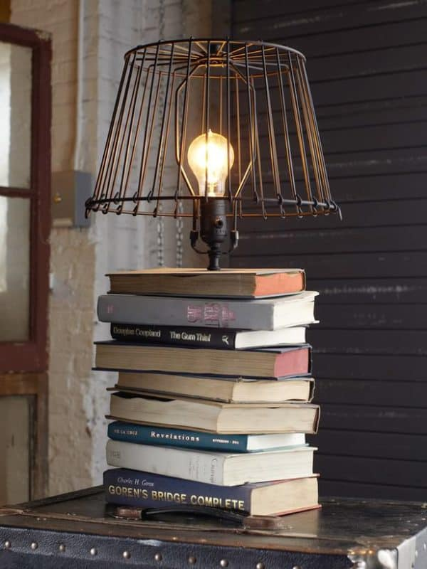 book recycled lamp 600x800 DIY : Books table lamp in paper lights diy  with Light Lamp DIY Book
