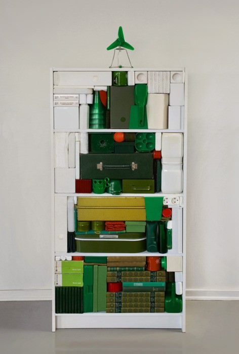 Graphical christmas tree in social art  with Christmas Bookshelf Books