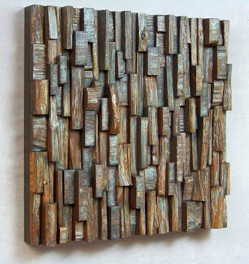 delusion 1 Wooden blocks panels in wood art  with Wood / organic Art