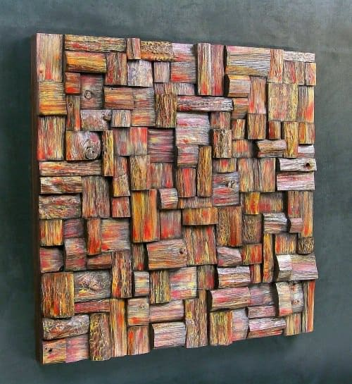 Wooden blocks panels in wood art  with Wood Recycled Art