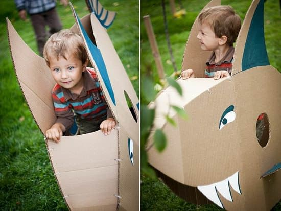 The Day of Tyran's Giant Creatures in social cardboard art  with Social Sculpture Kid festival Cardboard Art