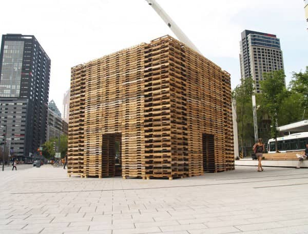 Foret II : Pallet installation by Justin Duchesneau and Phil Allard  in social art pallets 2  with Street Art Pallets montreal installation