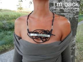 Black phone cable necklace