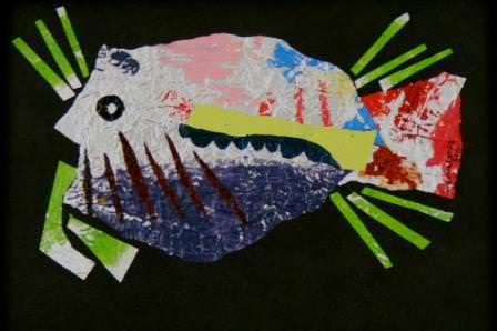 shoaling Foil Art in art  with Upcycled collage Art 