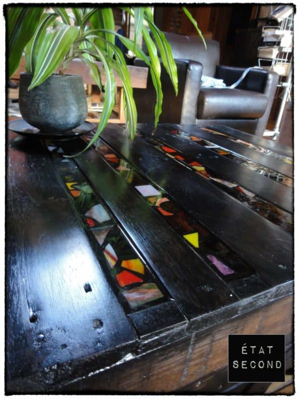 Black pallets coffee table in pallets 2 furniture  with Table Recycled Pallets mosaic Green Ecodesign
