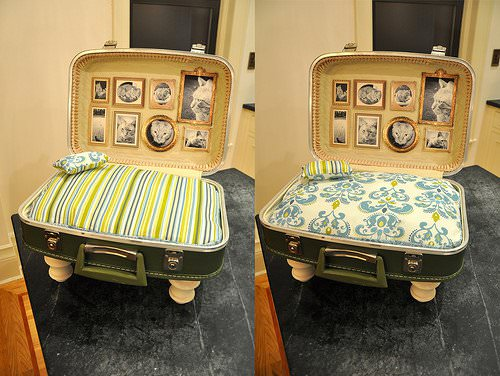 upcycled cat bed suitcase2 Cat bed from upcycled suitcase in fabric diy  with suitcase pet bed PET Animal 