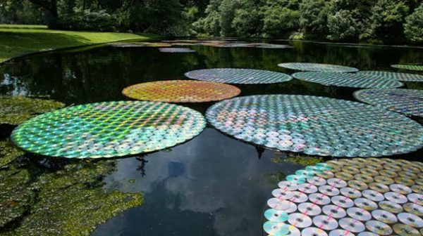 Upcycled CDs : Water Lilies in electronics art  with WC CD Art