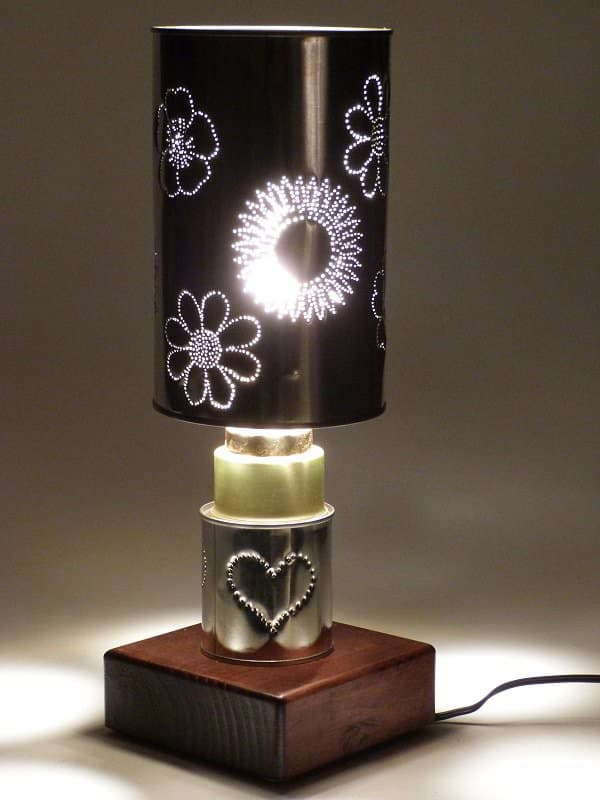 Flower Power 2 Copy Table Lamps in packagings lights  with Tin Light Lamp Can