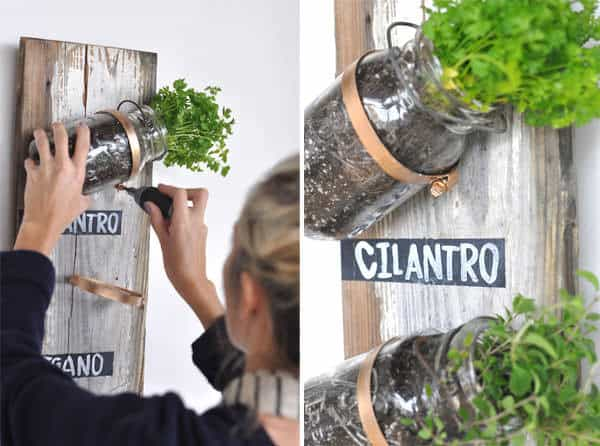 Mason Jar Herb Garden in diy  with hanging