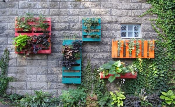 Colored pallet planters in pallets 2  with Planter Pallets Garden ideas Color