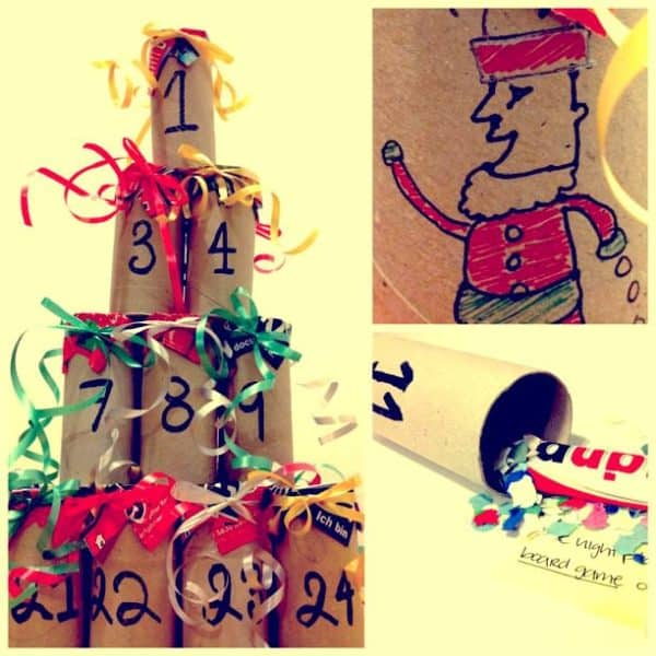 Advents toilette paper roll Calendar in paper  with Paper & Books Magazine Gift Christmas calendar Advent
