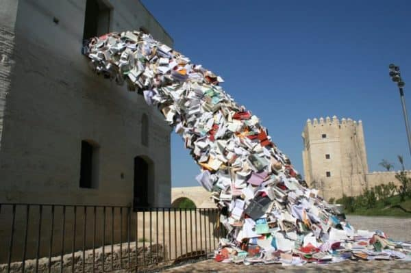'Cascading Books' Installations in paper  with Recycled Art installation Books