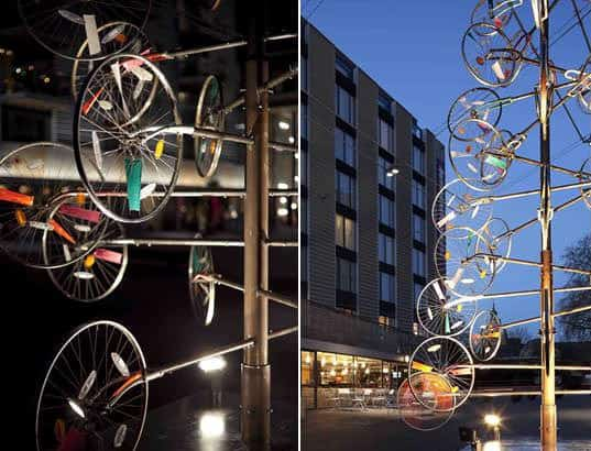 Bike wheels Christmas tree in bike friends  with Wheel Tree Christmas Bike