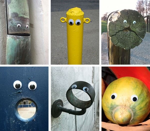 Eye bombing in social diy art  with Street Art