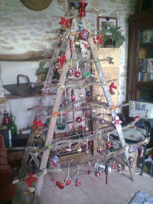 Ladder christmas tree in social diy  with ladder Christmas