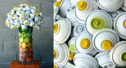 Discarded spray can bouquets and orchids