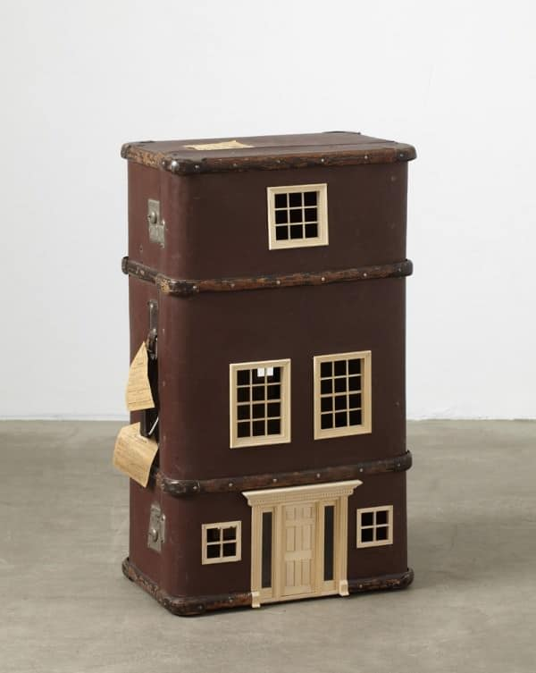 Suitcases turned into miniature homes in packagings art accessories  with suitcase miniature home