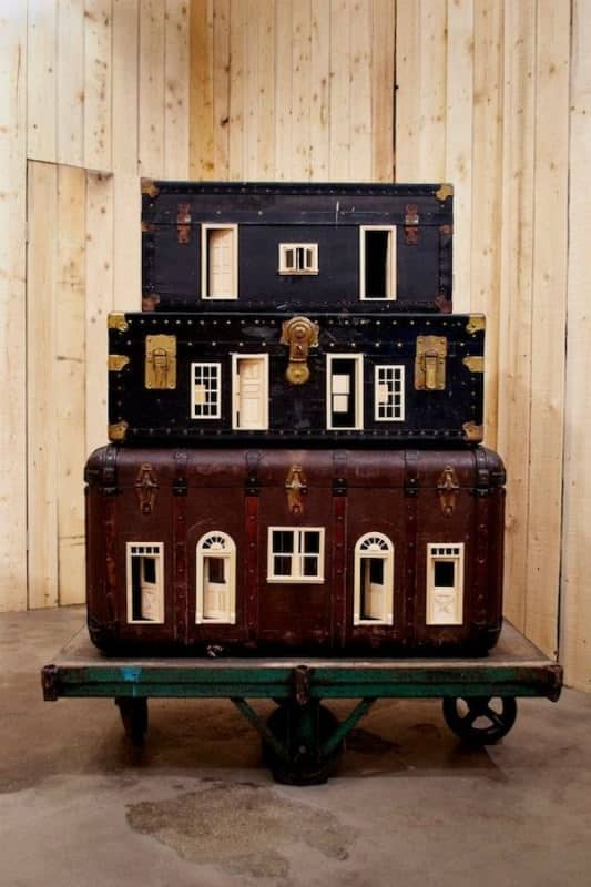 suitcases repurposed home2 533x800 Suitcases turned into miniature homes in packagings art accessories  with suitcase miniature home